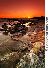 Rocky seascape sunset - Spectacular sunset over a dramatic...