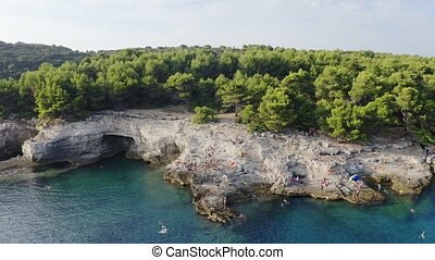 Rocky shore aerial - Aerial view of Croatia rocky shore with...