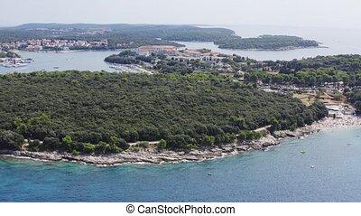Rocky shore aerial - Aerial view of sea rocky shore in ...