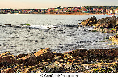 rocky shore and a beach of Black sea - rocky shore and sandy...