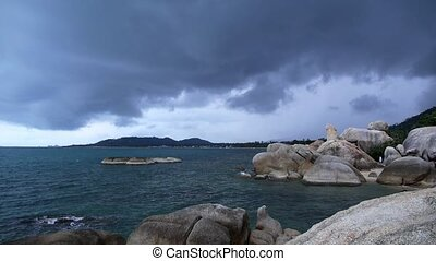 Rocky Shore before Storm. Slow Motion. - Rocky Shore before...