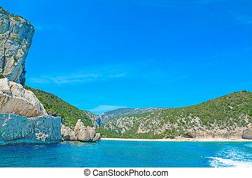 rocky shore in Orosei Gulf. Shot in Sardinia, Italy