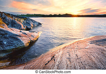 Rocky shore in the water