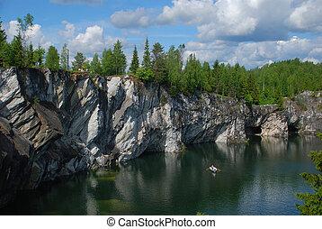 Rocky shore of Blue Lake