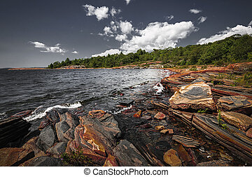 Rocky shore of Georgian Bay - Georgian Bay landscape with...