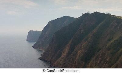 Rocky shore of Lake Baikal. Time lapse