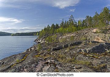 Rocky shore of Lake Ladoga. - Ladoga skerries, Russia. A...