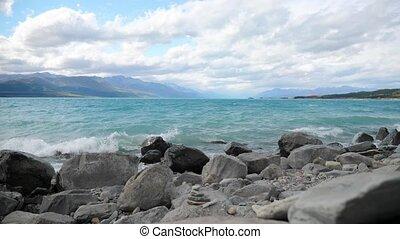 Lake Pukaki, New Zealand - Rocky shore of Lake Pukaki, New...