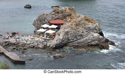 Rocky shore of Sile - A cafe on rocky shore of Sile....
