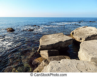 Rocky shore of the Caspian Sea.