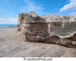 Rocky shore of the Caspian Sea.