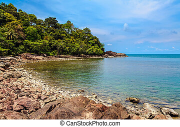 Rocky shore of the island of Koh Chang in Thailand