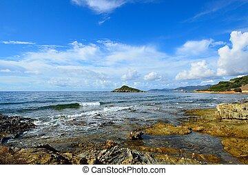 Rocky shore on the west coast of Sardinia. Italy