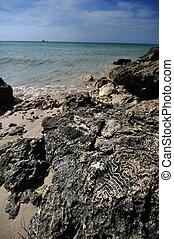 Rocky Shore - Rocky Beach of Bahia Honda State Park, Florida...