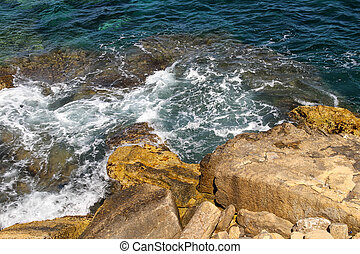 Rocky shore in the mediterranean sea