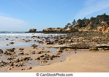 rocky shore in the Algarve, Portugal