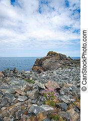 Rocky Shore - Rocky shoreline of Porthkerris Cove on the...