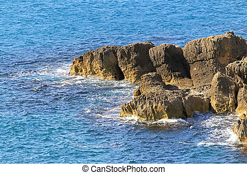 Rocky shore at Adriatic sea in Montenegro