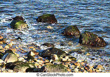 Rocky Shoreline - A rocky shoreline off the coast of Long ...