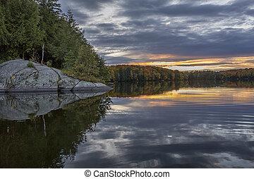 Shoreline of an Autumn Lake at Sunset - Ontario, Canada
