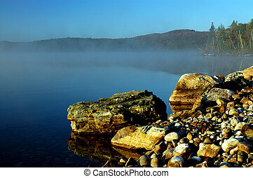 Rocky shoreline on a lake in Ontario
