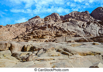 Rocky Sinai Mountains on a background of blue sky