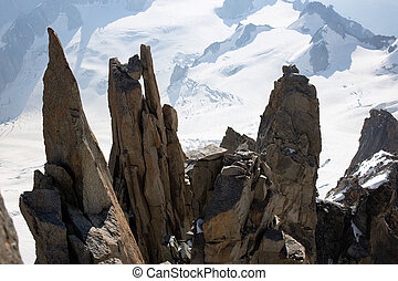 rocky spires in the swiss alps