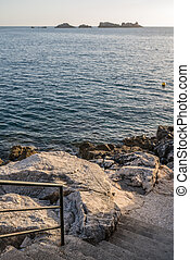 Rocky stairs down to the Croatian coast