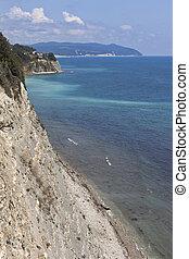 Rocky steep coast Cape Tolstoy in the resort Gelendzhik