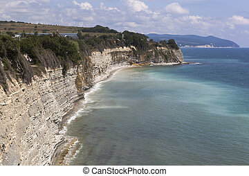 Rocky steep coast Tolstoy Cape in Gelendzhik, Krasnodar region, Russia