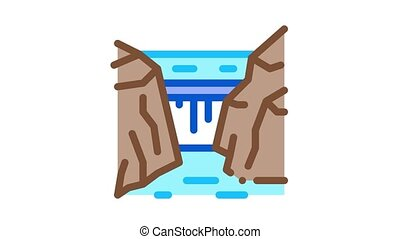 rocky terrain Icon Animation. color rocky terrain animated icon on white background