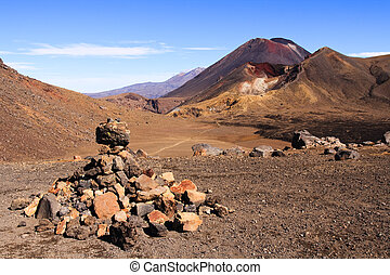 Mt Doom - Rocky Tongariro crossing leading to Mt Doom,...