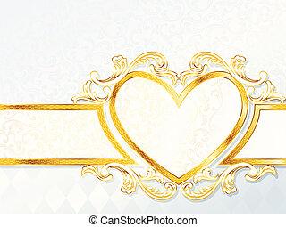 rococó, boda, bandera, con, un, corazón