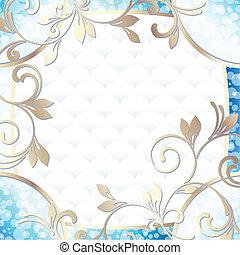 rococo, cornice, in, vibrante, blu