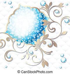 rococo, emblema, in, vibrante, blu