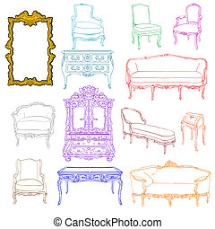 rococo furniture doodles - authentic rococo furniture...