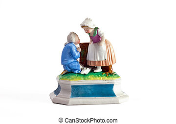Rococo porcelain sculpture of Cinderella and the Prince of Meissen from the 18th century