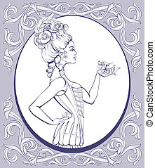 rococo style young woman lined - Young attractive woman in...