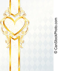 Rococo wedding banner with a heart - Elegant white and gold...