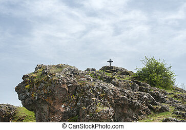 rocoso, cristiano, colina, cruz