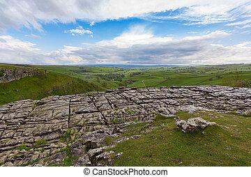 rocoso, encima, ensenada, malham, valles de yorkshire, vista