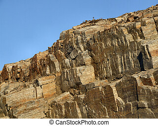 rocoso, paisaje, -, descubierto, pared de piedra