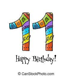 rocznica, powitanie, celebration., szablon, 11, karta