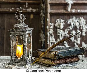 rocznik wina, świeca, lampa