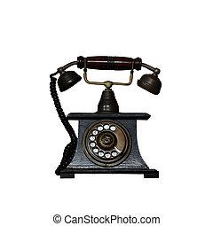 rocznik wina, biały, stary telefon, odizolowany