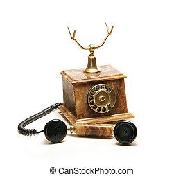 rocznik wina, biały, telefon, odizolowany