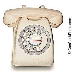 rocznik wina, biały, telefon, tło, odizolowany