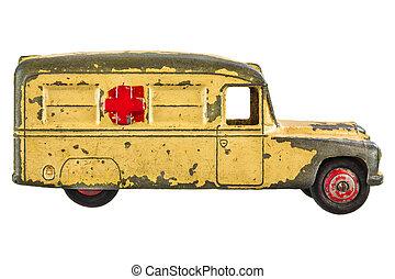 rocznik wina, biały, zabawka, odizolowany, ambulans
