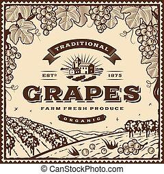 rocznik wina, brązowy, winogrona, etykieta