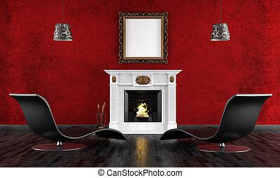 rocznik wina, czarnoskóry, pokój, czerwony